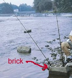 This brick can be used to hold poles while  bank fishing