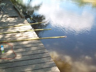 you can use long cane poles to fish from the dock.when the river is up